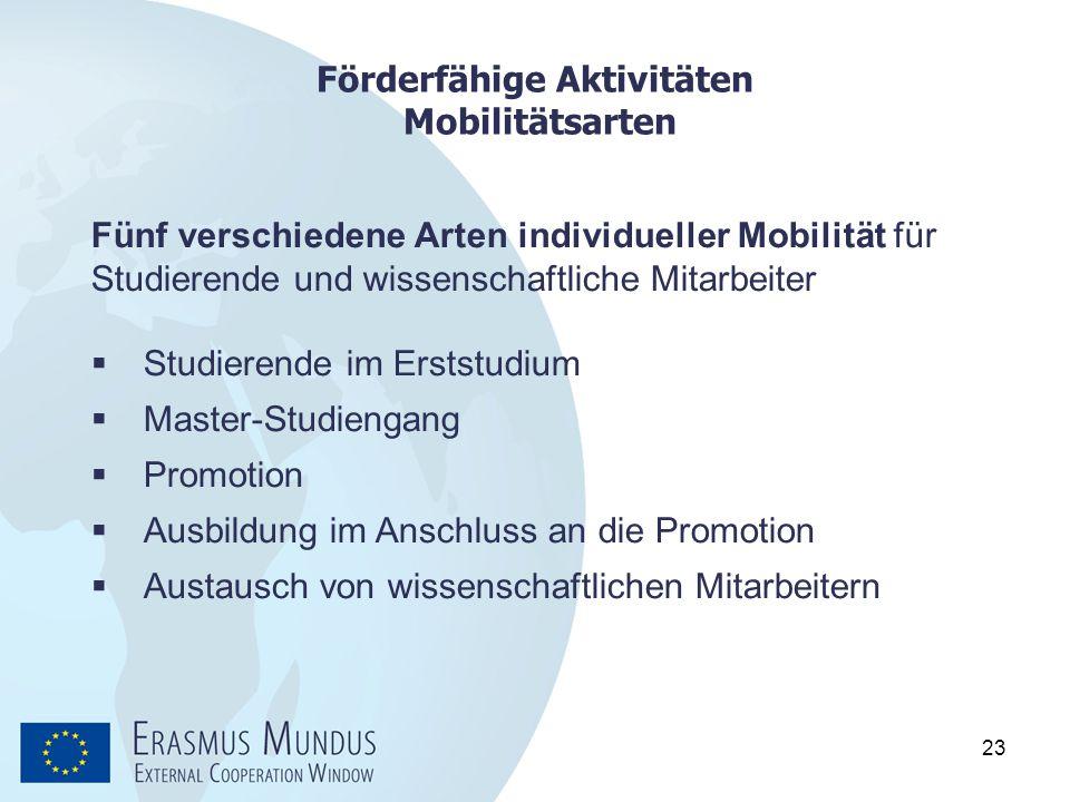 Förderfähige Aktivitäten Mobilitätsarten