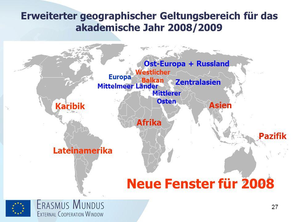 Erweiterter geographischer Geltungsbereich für das akademische Jahr 2008/2009