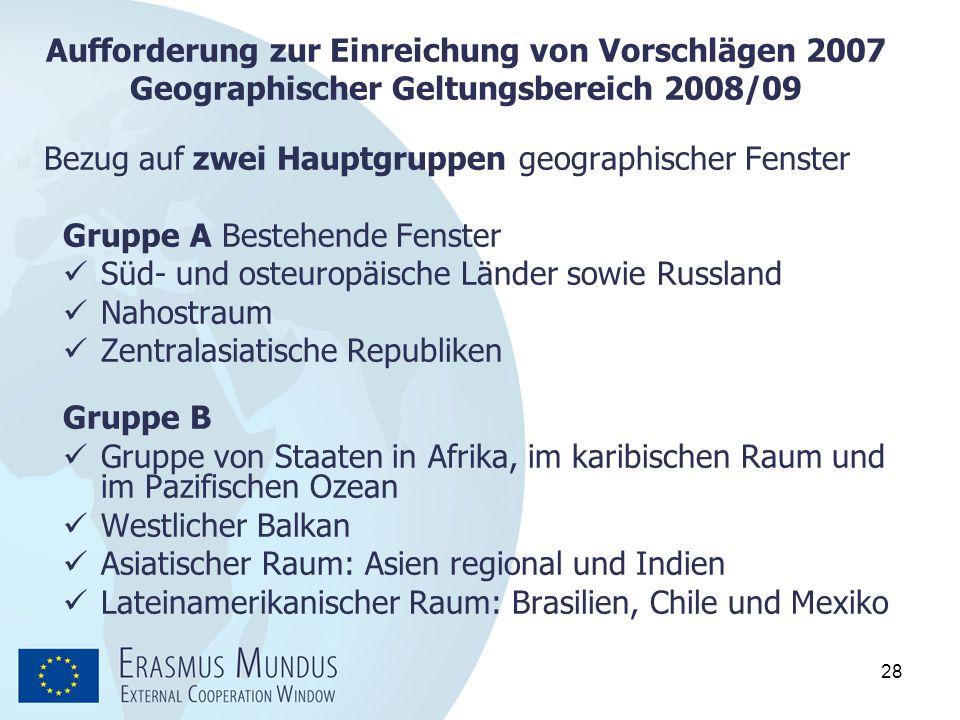 Aufforderung zur Einreichung von Vorschlägen 2007 Geographischer Geltungsbereich 2008/09
