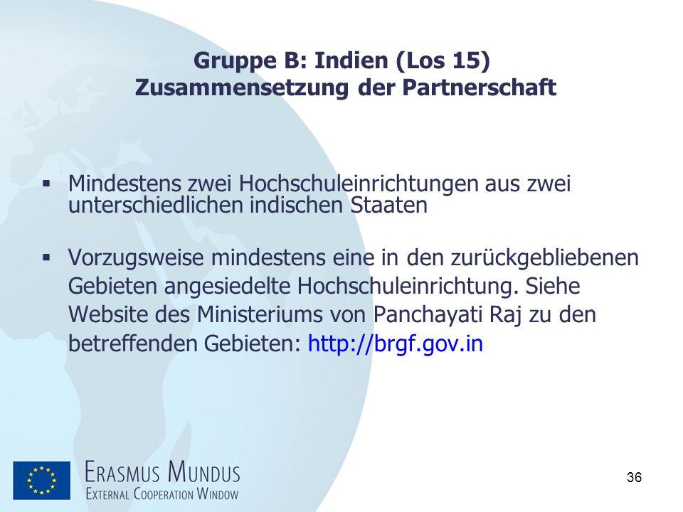Gruppe B: Indien (Los 15) Zusammensetzung der Partnerschaft