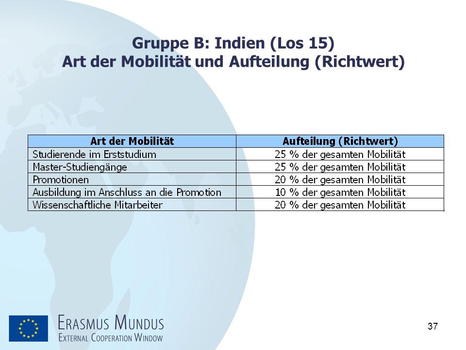 Gruppe B: Indien (Los 15) Art der Mobilität und Aufteilung (Richtwert)
