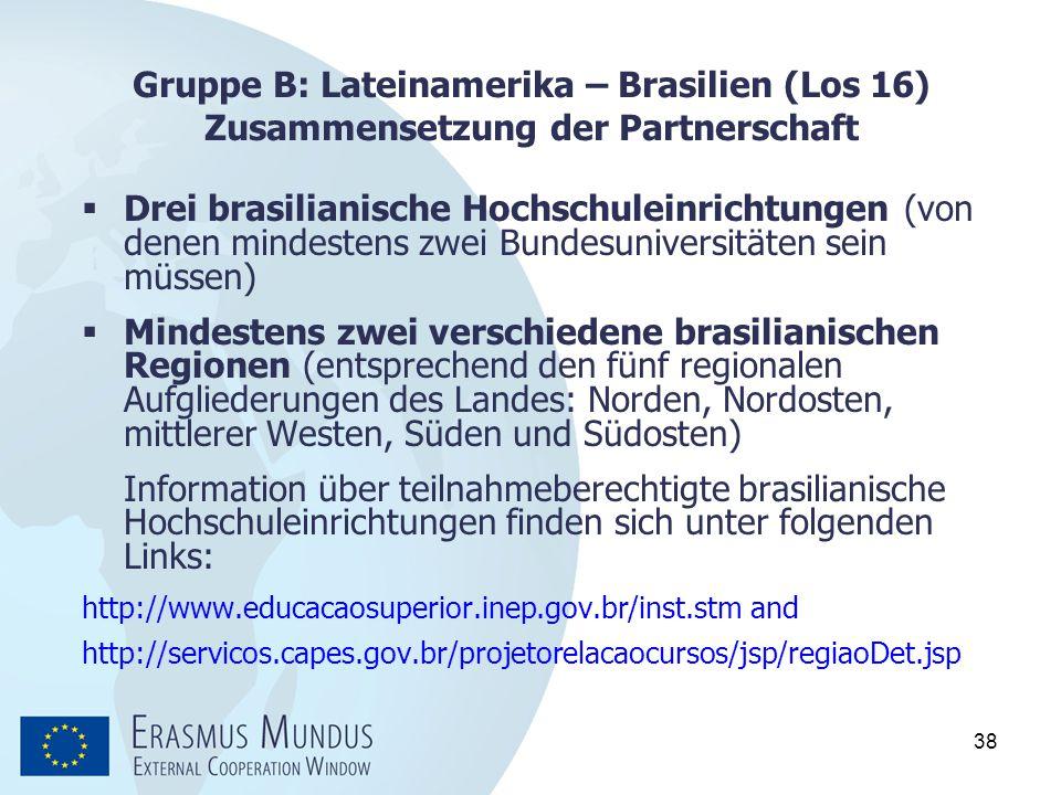 Gruppe B: Lateinamerika – Brasilien (Los 16) Zusammensetzung der Partnerschaft