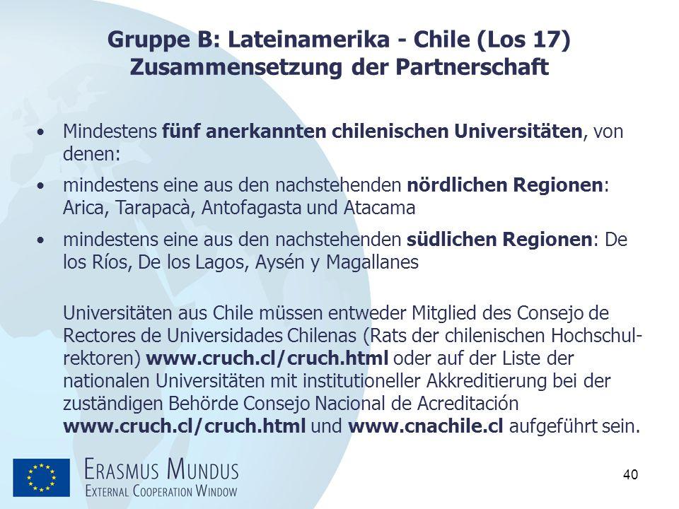 Gruppe B: Lateinamerika - Chile (Los 17) Zusammensetzung der Partnerschaft