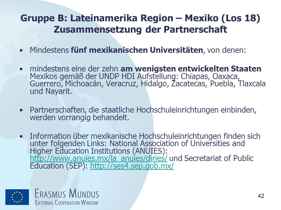 Gruppe B: Lateinamerika Region – Mexiko (Los 18) Zusammensetzung der Partnerschaft