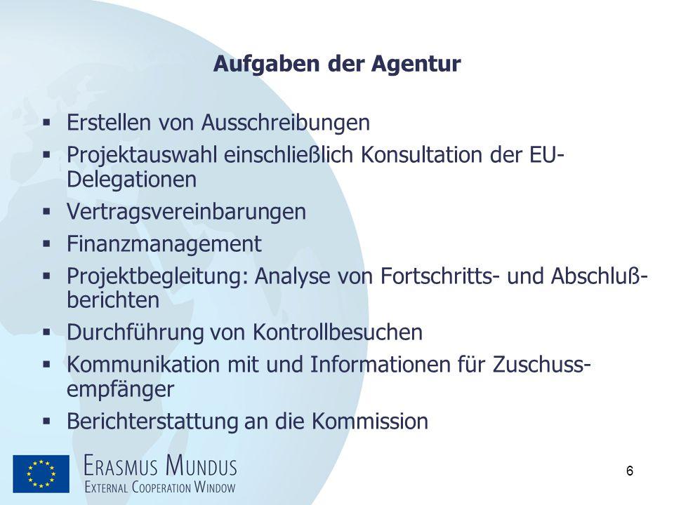 Aufgaben der Agentur Erstellen von Ausschreibungen. Projektauswahl einschließlich Konsultation der EU-Delegationen.
