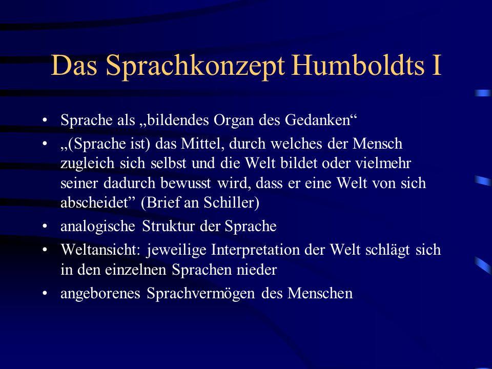 Das Sprachkonzept Humboldts I