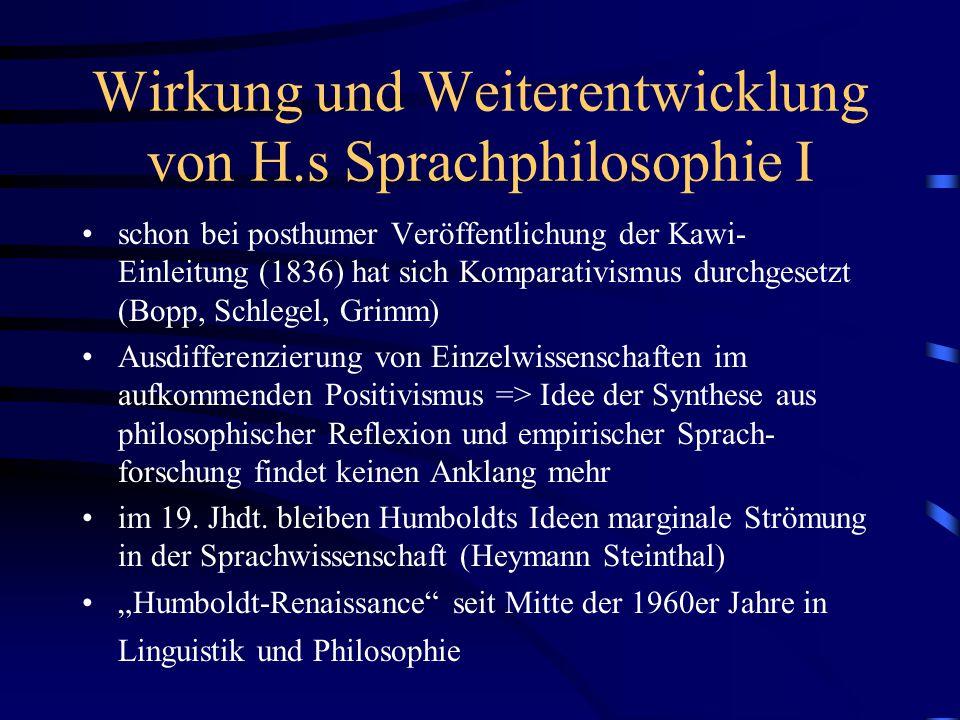 Wirkung und Weiterentwicklung von H.s Sprachphilosophie I