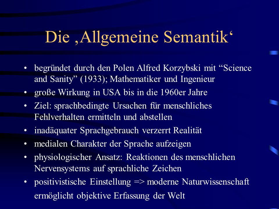 Die 'Allgemeine Semantik'
