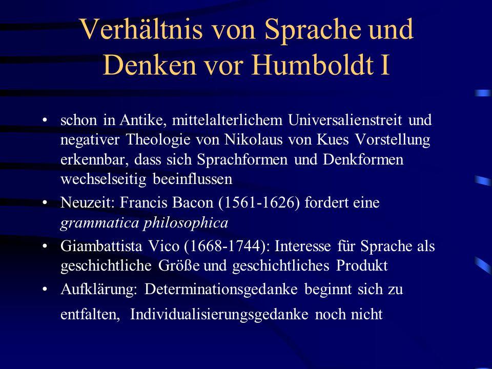 Verhältnis von Sprache und Denken vor Humboldt I