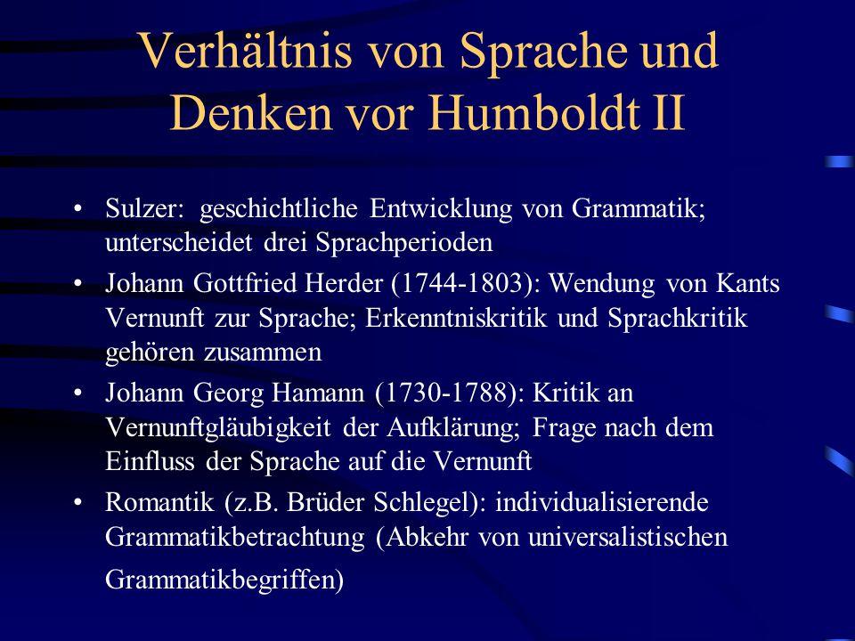 Verhältnis von Sprache und Denken vor Humboldt II