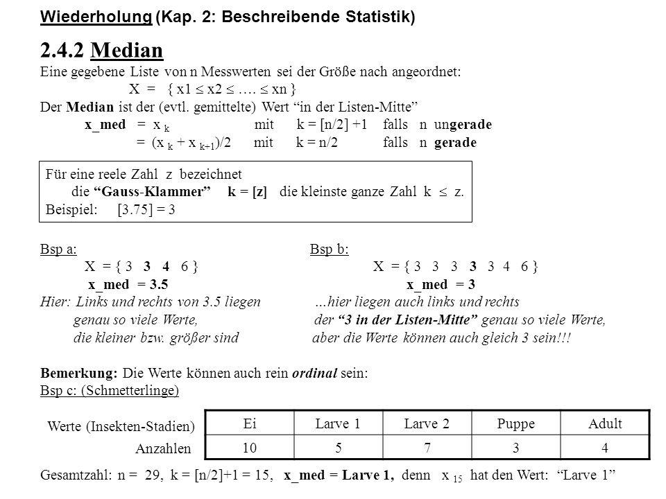 2.4.2 Median Wiederholung (Kap. 2: Beschreibende Statistik)