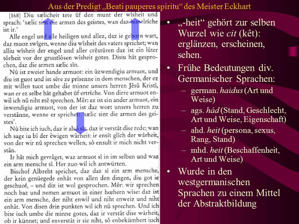 """Aus der Predigt """"Beati pauperes spiritu des Meister Eckhart"""