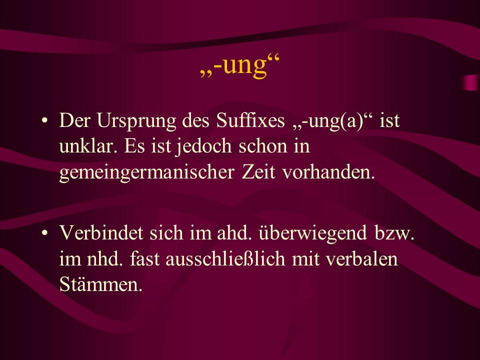 """""""-ung Der Ursprung des Suffixes """"-ung(a) ist unklar. Es ist jedoch schon in gemeingermanischer Zeit vorhanden."""