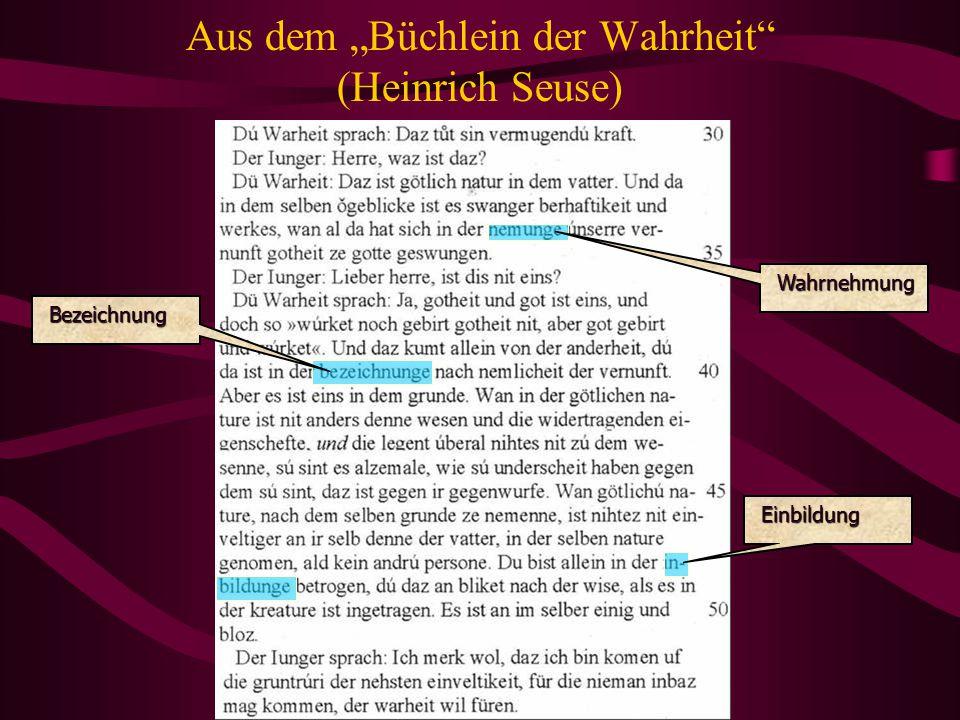 """Aus dem """"Büchlein der Wahrheit (Heinrich Seuse)"""