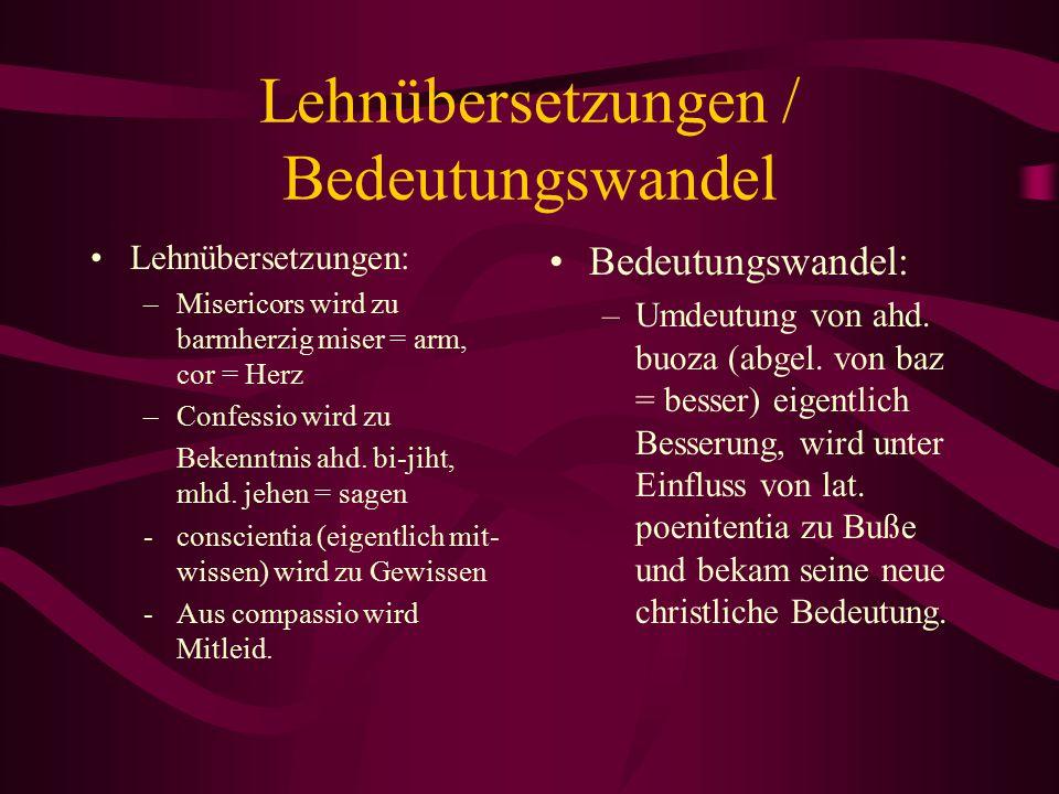 Lehnübersetzungen / Bedeutungswandel
