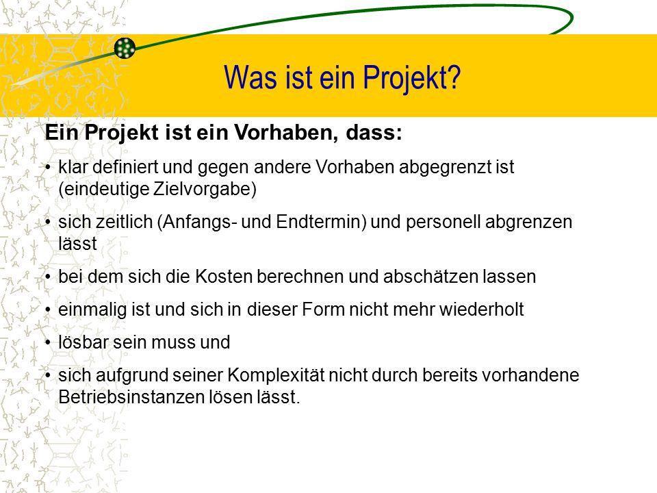 Was ist ein Projekt Ein Projekt ist ein Vorhaben, dass: