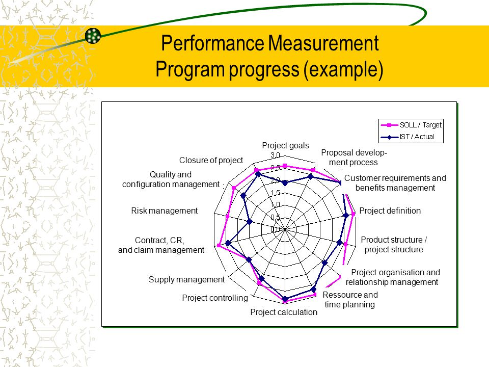Performance Measurement Program progress (example)