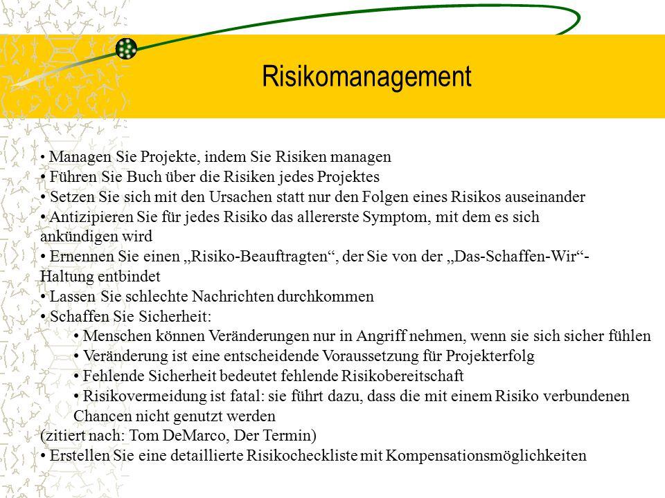Risikomanagement Führen Sie Buch über die Risiken jedes Projektes