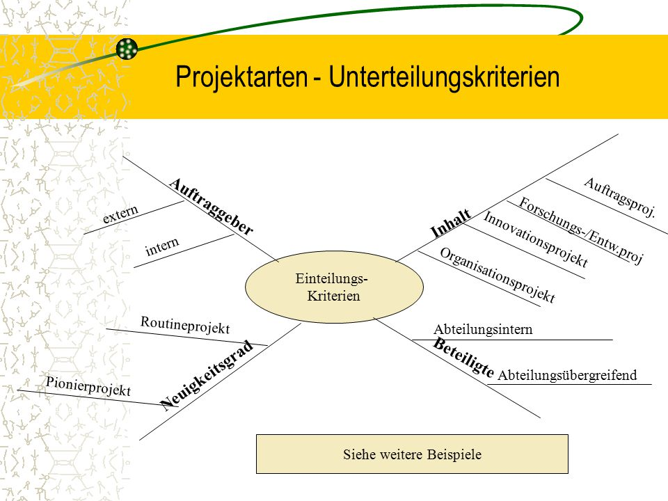 Projektarten - Unterteilungskriterien