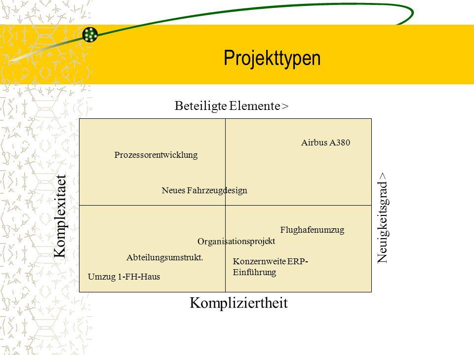 Projekttypen Komplexitaet Kompliziertheit Beteiligte Elemente >