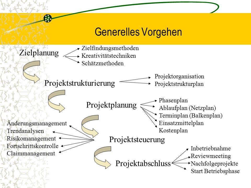 Generelles Vorgehen Zielplanung Projektstrukturierung Projektplanung