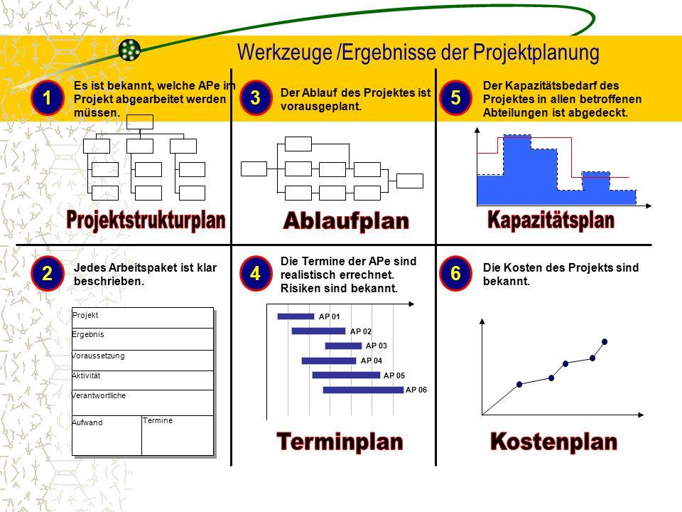 Werkzeuge /Ergebnisse der Projektplanung