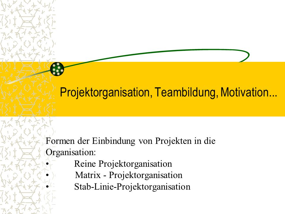 Projektorganisation, Teambildung, Motivation...