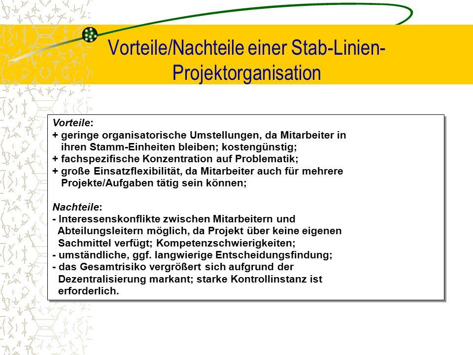 Vorteile/Nachteile einer Stab-Linien- Projektorganisation