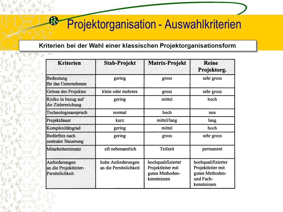 Projektorganisation - Auswahlkriterien
