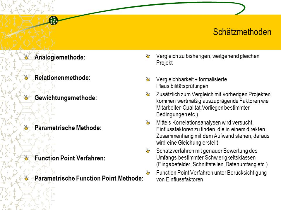 Schätzmethoden Analogiemethode: Relationenmethode: Gewichtungsmethode: