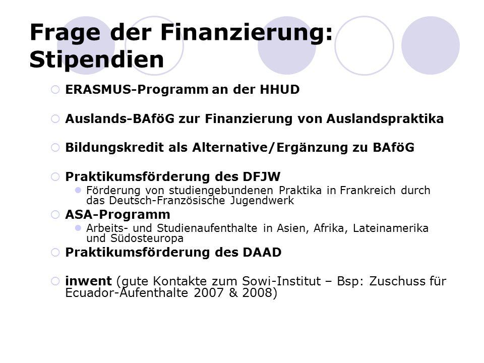 Frage der Finanzierung: Stipendien