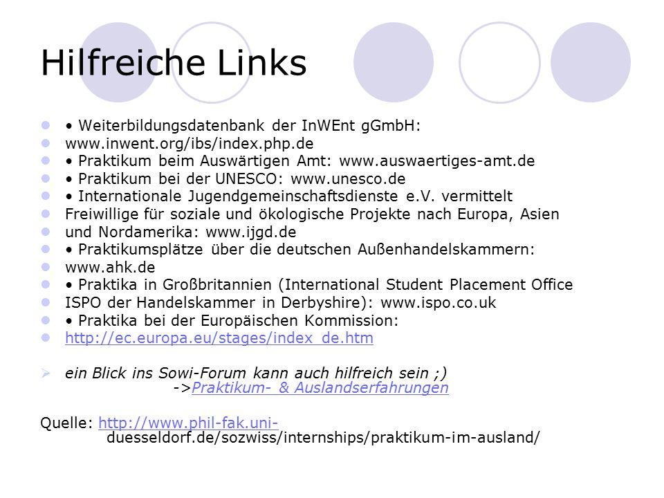 Hilfreiche Links • Weiterbildungsdatenbank der InWEnt gGmbH: