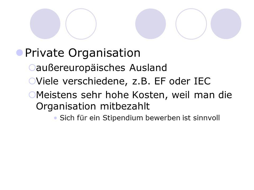 Private Organisation außereuropäisches Ausland