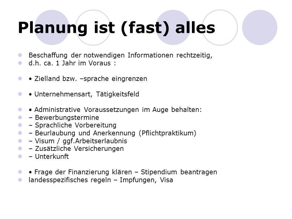 Planung ist (fast) alles