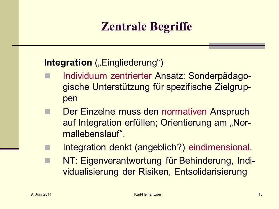 """Zentrale Begriffe Integration (""""Eingliederung )"""