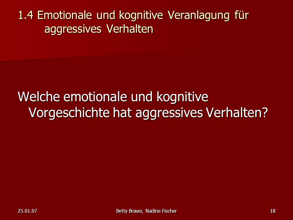 1.4 Emotionale und kognitive Veranlagung für aggressives Verhalten
