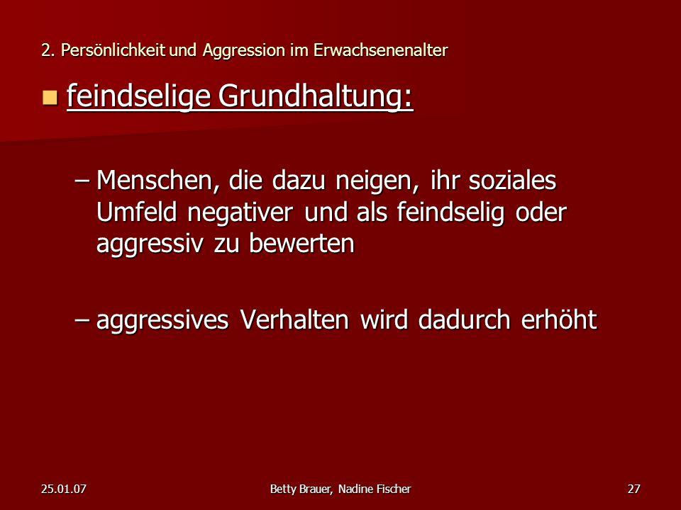 2. Persönlichkeit und Aggression im Erwachsenenalter
