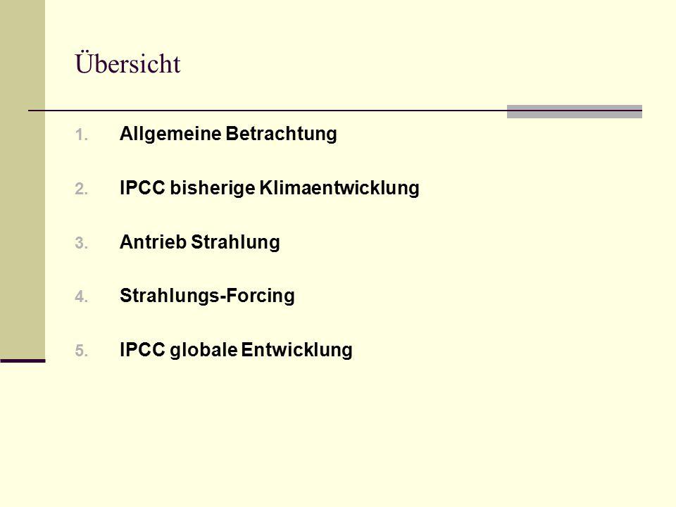 Übersicht Allgemeine Betrachtung IPCC bisherige Klimaentwicklung