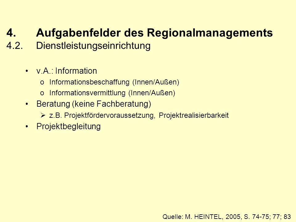 4. Aufgabenfelder des Regionalmanagements 4. 2