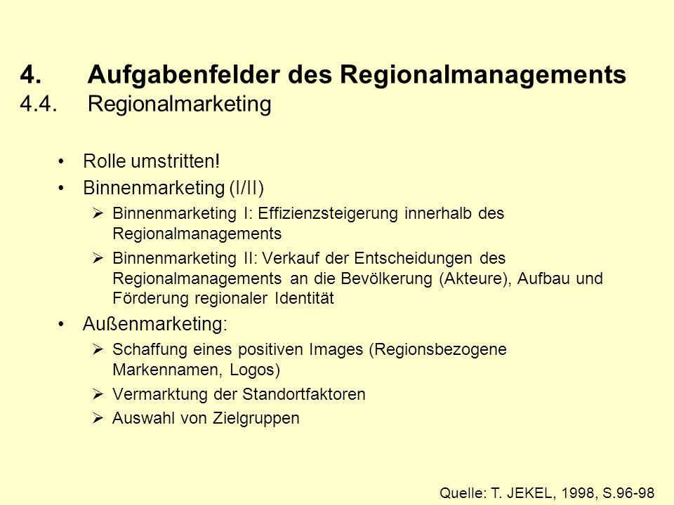 4. Aufgabenfelder des Regionalmanagements 4.4. Regionalmarketing