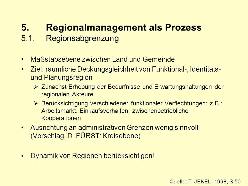 5. Regionalmanagement als Prozess 5.1. Regionsabgrenzung