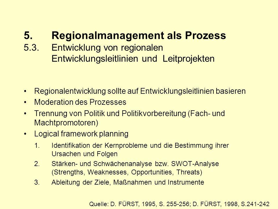 5. Regionalmanagement als Prozess 5. 3. Entwicklung von regionalen