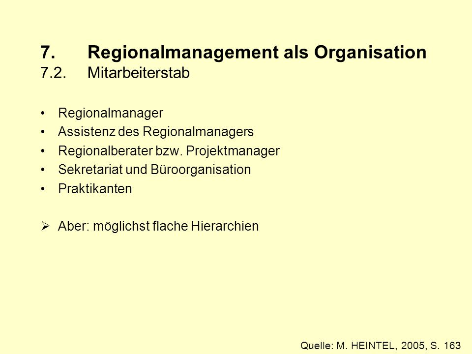 7. Regionalmanagement als Organisation 7.2. Mitarbeiterstab