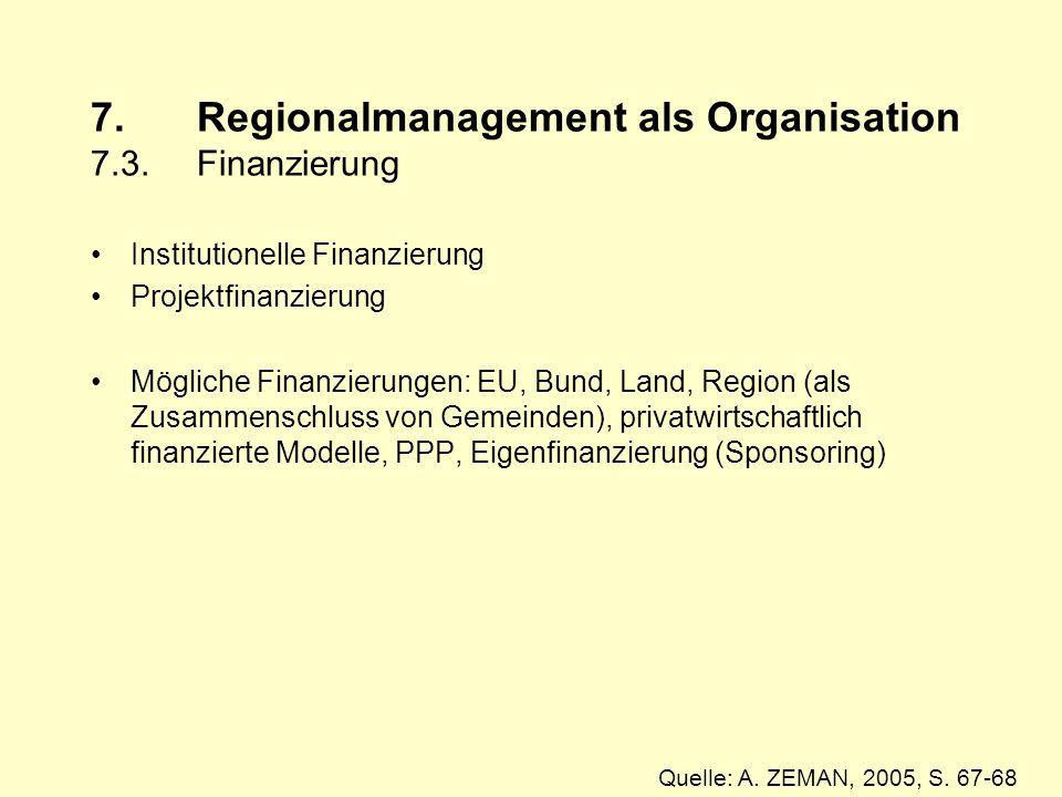 7. Regionalmanagement als Organisation 7.3. Finanzierung