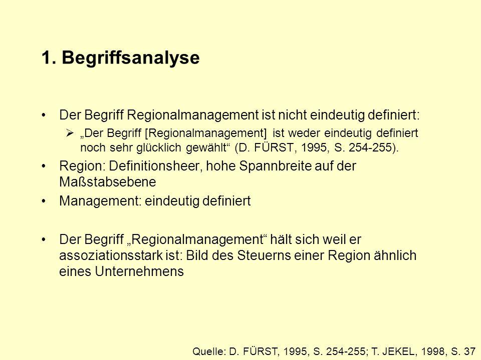 1. Begriffsanalyse Der Begriff Regionalmanagement ist nicht eindeutig definiert: