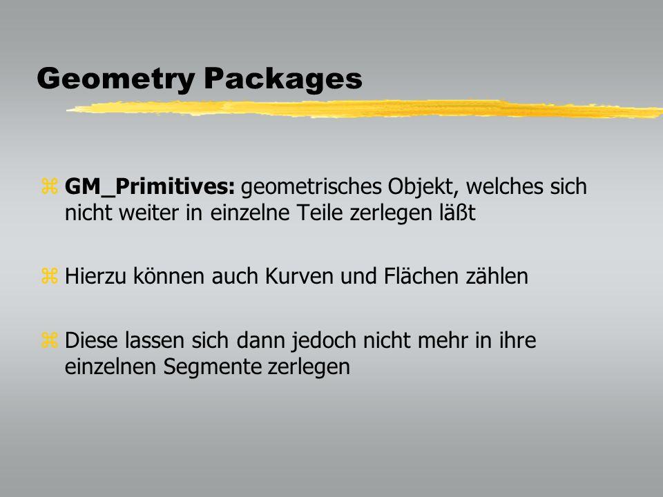 Geometry Packages GM_Primitives: geometrisches Objekt, welches sich nicht weiter in einzelne Teile zerlegen läßt.