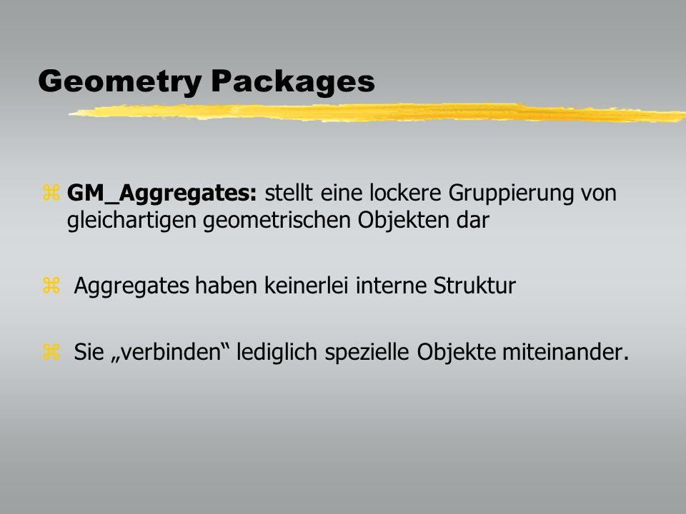 Geometry Packages GM_Aggregates: stellt eine lockere Gruppierung von gleichartigen geometrischen Objekten dar.