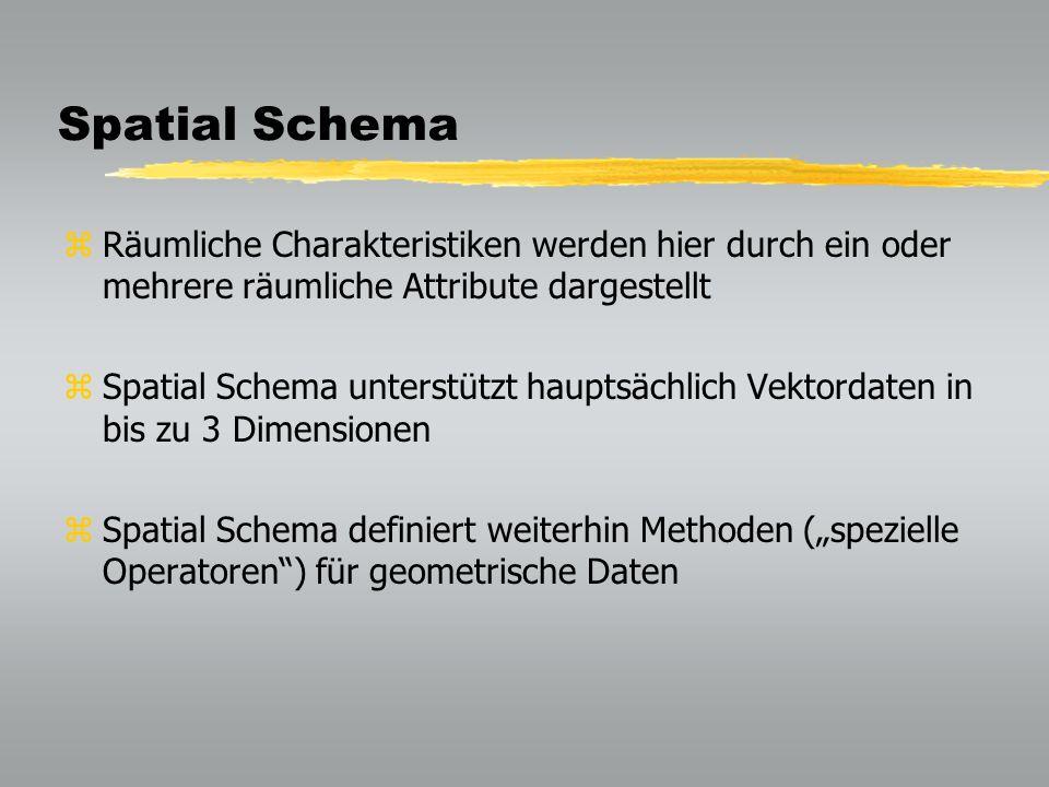 Spatial Schema Räumliche Charakteristiken werden hier durch ein oder mehrere räumliche Attribute dargestellt.