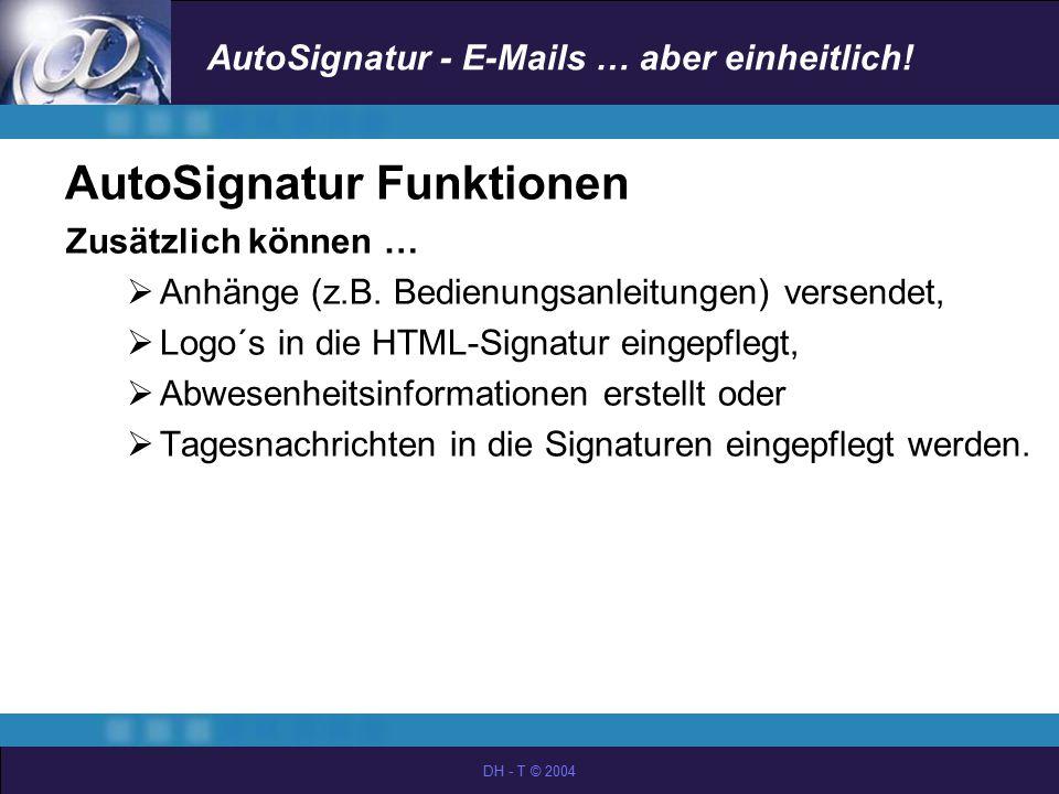 AutoSignatur Funktionen