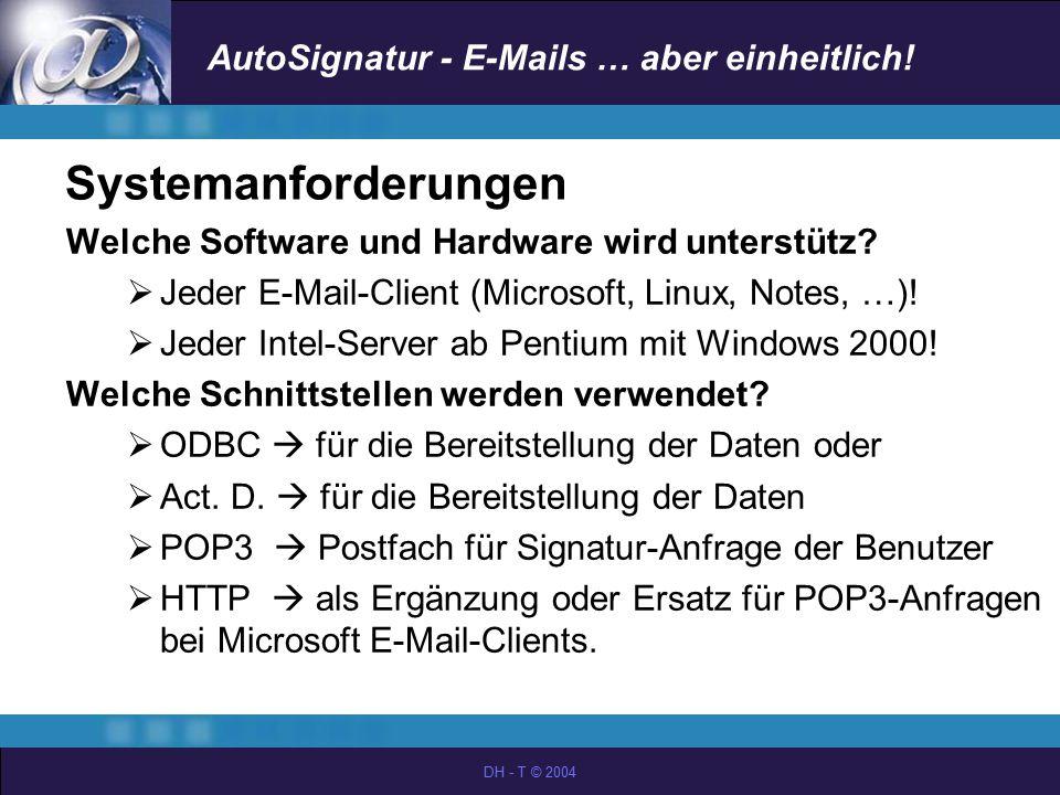 Systemanforderungen Welche Software und Hardware wird unterstütz